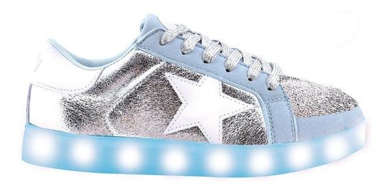 Zapatillas Estrella Metalizada Celeste Con Luz Led- Footy Oficial