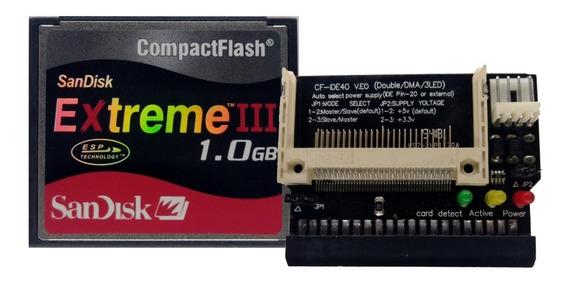 Kit 10 Cartões Compact Flash 1gb Com Adaptadores Ide Fêmea