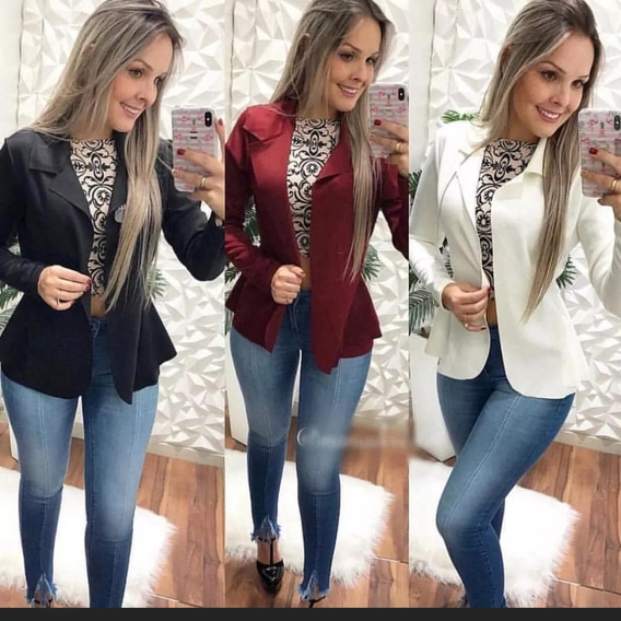 Kit 3 Blazer Casaco Jaqueta Blusa Social Slim Feminino