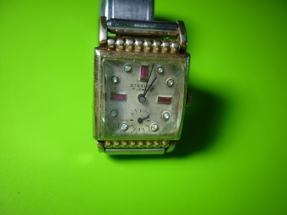 Antiguo Reloj Steelco Chapeado Con Joyas. De Los 40