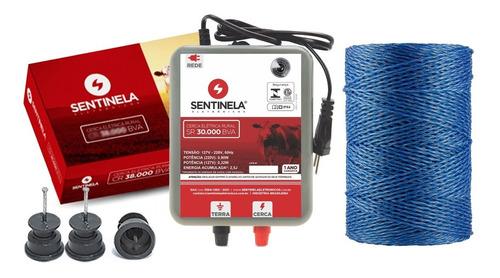 Kit Eletrificador Sr 30.000 + 100 Isolador + 250m Fio Sentin