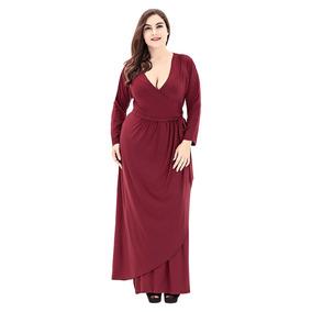 Vestido Atado Manga Largo Cuello Zambullida De Moda Más Tam