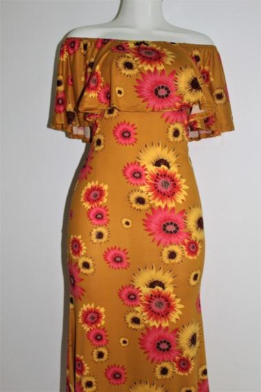 Elegante Maxi Vestidos Diseño Girasoles Strech