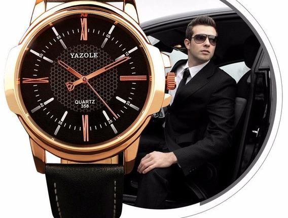 Relógio Masculino Luxo Pulseira Couro Barato Social