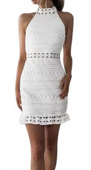 Vestido Blanco Encaje Sexy Sin Mangas Fiesta Cóctel