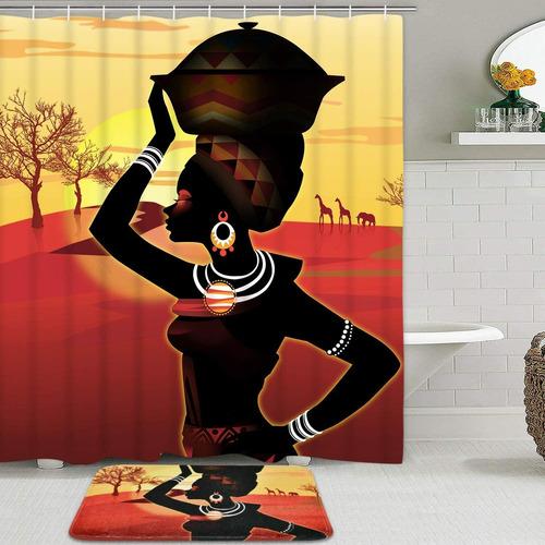 Imagen 1 de 7 de Alishomtll Afro Girl Juego De Cortina De Ducha Con Alfombril