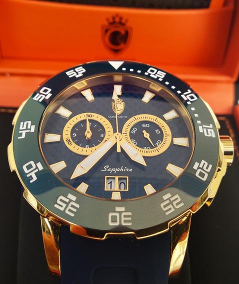 Relogio Original Constantim Marine Scub Diver Gold Blue 100m