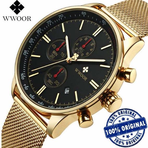 Relógio Masculino Wwoor 8862 Luxuoso Casual Dourado Original