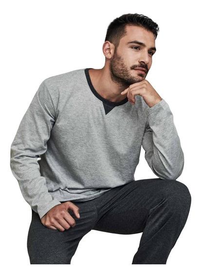 Pijama Invierno Hombre Jersery Combinado C/puño Tipico 893