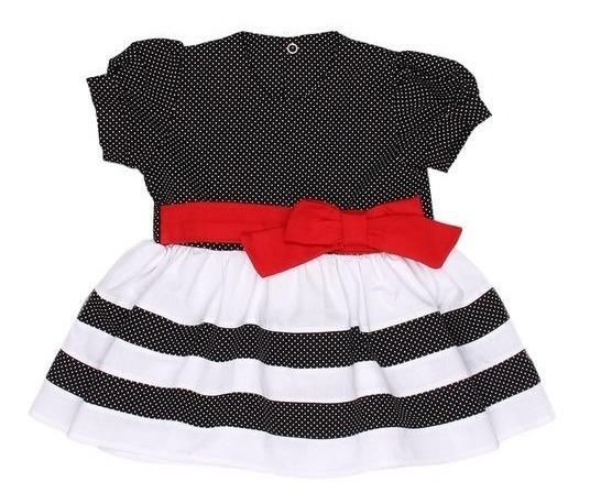 Vestido Bebê Asas De Anjo Festa Chic Poá Preto - 2 E 3 Anos