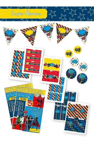 Kit Imprimible Cotillón Completo Superheroes Invitaciones