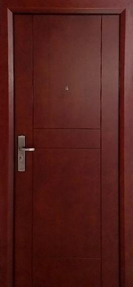 Puerta De Seguridad Maple Aper Der Acero + Madera Cherry