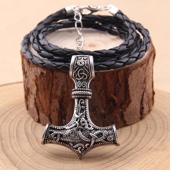 Pingente Viking Cordão Couro Odin Thor Martelo Elegante