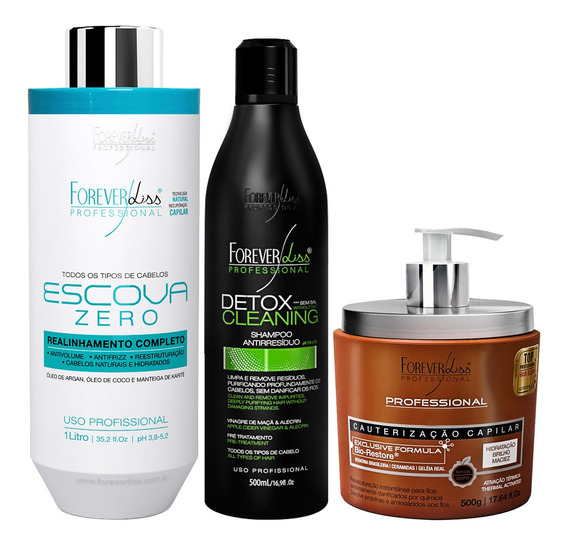 Kit Forever Liss Progressiva Zero Shampoo Detox Cauterização