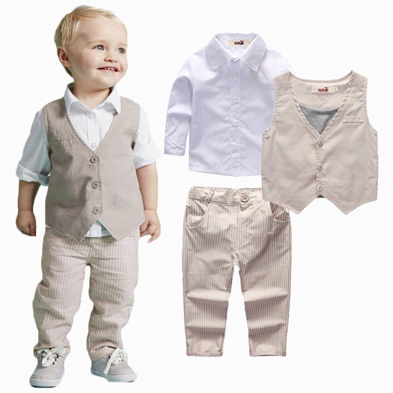 Conjunto Infantil Menino Calça Camisa Branca Colete Batizado