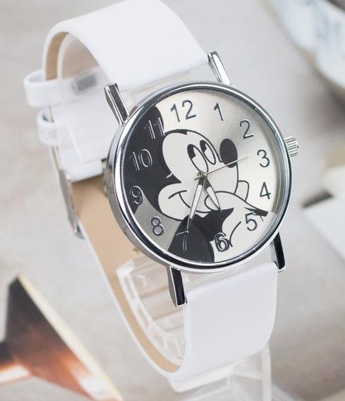 Relógio Mickey Feminino Pulseira Branca Rg004f Promoção!!!