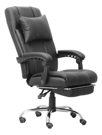 Cadeira Presidente Reclinável Preto Em Pu Base Giratória