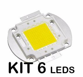 Kit 6un Chip Led 50w Cob P/ Refletor Branco Frio 6500k