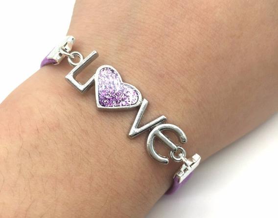 Pulseira Feminina Bracelete Ferro Love Roxa