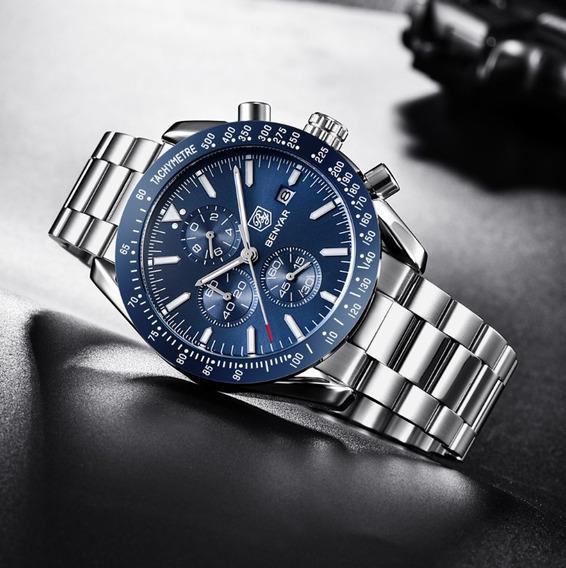 Relógio Masculino Militar Aço Inoxidável Benyar Frete Gratis