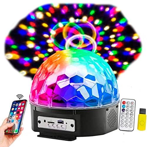 Imagen 1 de 4 de Bola Esfera Led Rgb Control Mp3 Usb Luz Parlantes Bluetooth