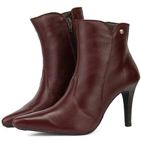 a5ab979f8 Sapato Pontal Calçados Botas De Cano Curto Feminino - Botas Bordô no ...