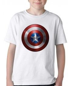 Camiseta Infantil Blusa Criança Capitao America Escudo Marve