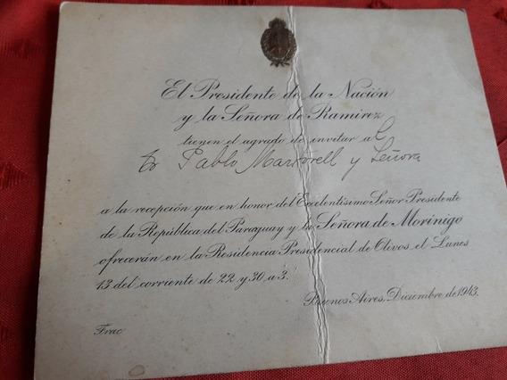 Antigua Tarjeta Presidencial Año 1943.