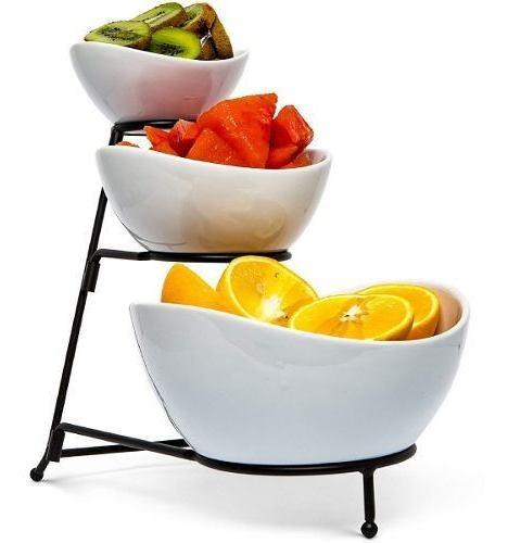 Base Para Postres Food Serving Bowl Set: 3 Tier Metal Displ