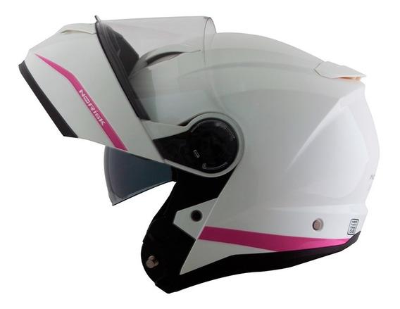 Capacete Norisk Force Simplicity Branco/rosa Modular 2019