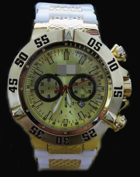Relógio Top Branco Subaqua Dourado Gold Aço Masculino+ Caixa