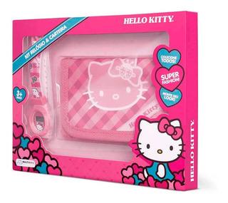 Kit Relógio + Carteira Da Hello Kitty Alimentação Bateria Lr