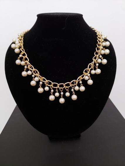 Collar Perla De Vidrio Con Cadena