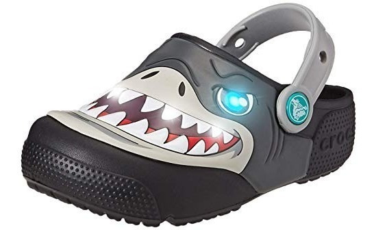Crocs Originales Fl K Shark Clog 001 Tiburon Con Luz! Nenes
