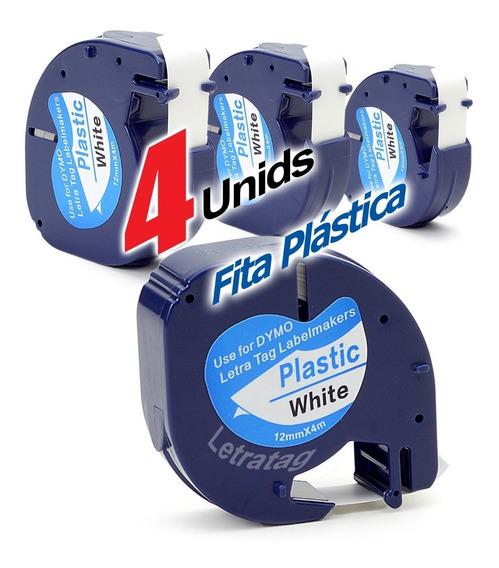 Fita Dymo Letratag Plástica 12mm Compatível Branca (4 Unid)