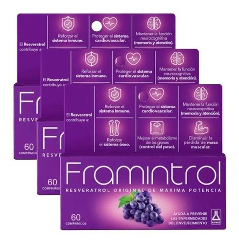 Imagen 1 de 5 de Framintrol Antioxidante C/ Resveratrol X 180 (3x60) Capsulas