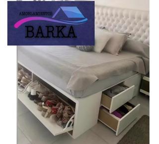 Cama Tipo Box Con 8 Cajones + 2 Botineros + Baulera