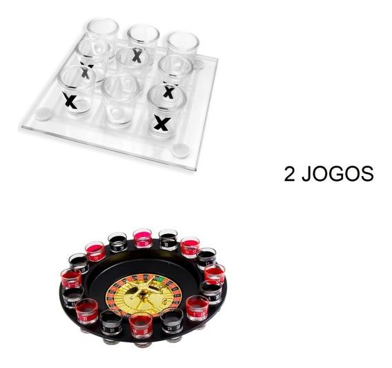 2 Jogo Roleta Bebida + Jogo Velha Tequila Drink Destilado