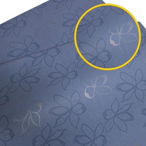Papel Seda Estampado 50x70 Pacote Com 50 Fiori Caribe Azul