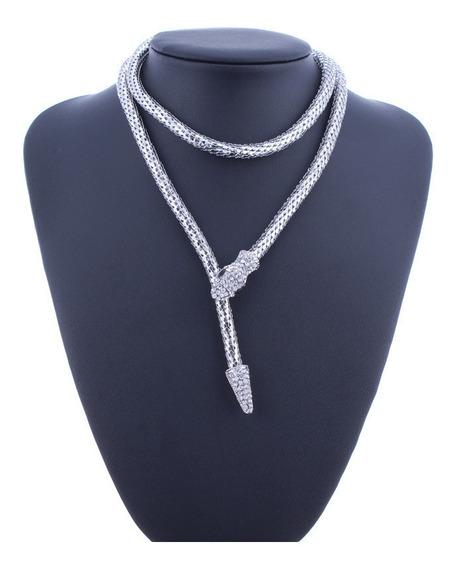 Collar Serpiente Plateada Imán Diseño Exclusivo Regalo N-289