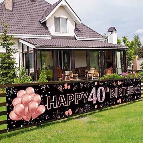 40 Cumpleaños Banner Decoraciones Para Mujeres, Oro Rosa