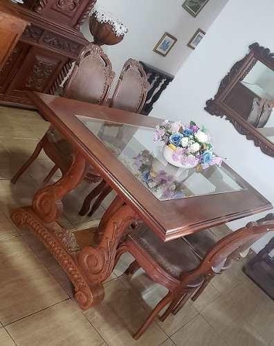 Mesa De Jantar Antiga Usada Com 6 Cadeiras