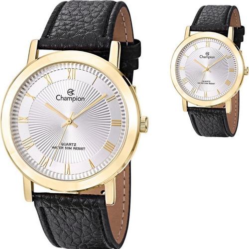 Relógio Champion Masculino Grande Couro Provad'água Ch22779b