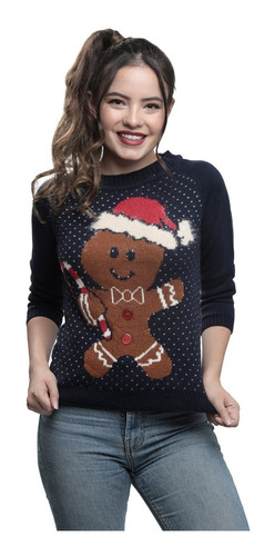 Imagen 1 de 1 de Suéter Ugly Sweater Negro Galletita Navideña Mujer