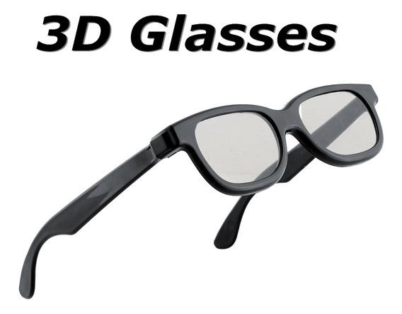 Óculos 3d Polarizados Redondos Pretos Para Dvd Lcd Video Gam