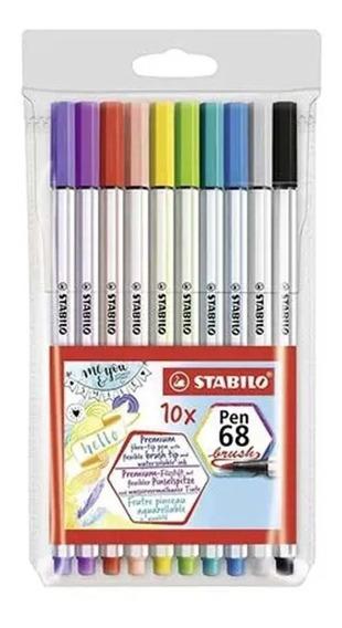 Estojo Stabilo Pen 68 Brush C 10 Cores