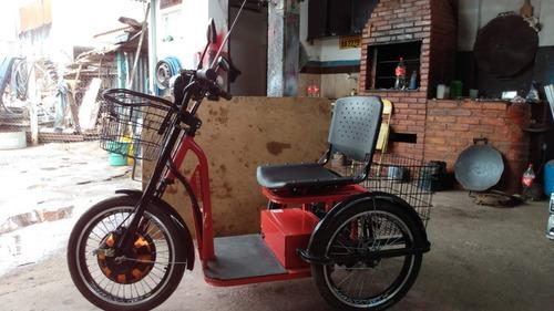 Imagem 1 de 4 de Triciclo Elétrico 800w Lítio Fox Vermelho Com Cestinha