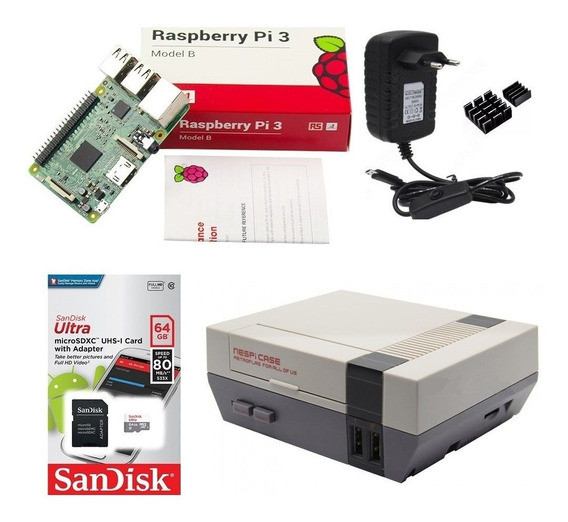 Kit Multi Jogos Raspberry Pi Nespi Case + 2 Controles 64gb