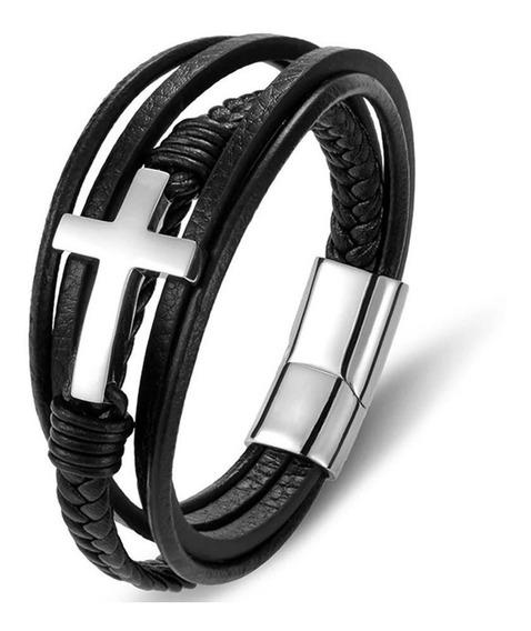 Pulseira Bracelete Aço + Couro Moda Masculina Luxo Promoção