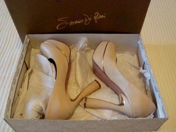 Stilettos Cuero Saverio Di Ricci Nude Zapatos 40 Plataforma
